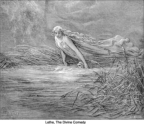 Matelda immerses Dante in Lethe, engraving, The Divine Comedy